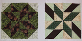 picture of blocks 1 and 2 for my Sea Breeze Quilts quilt along