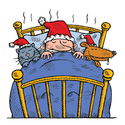 Illustration of Santa Claus in bed