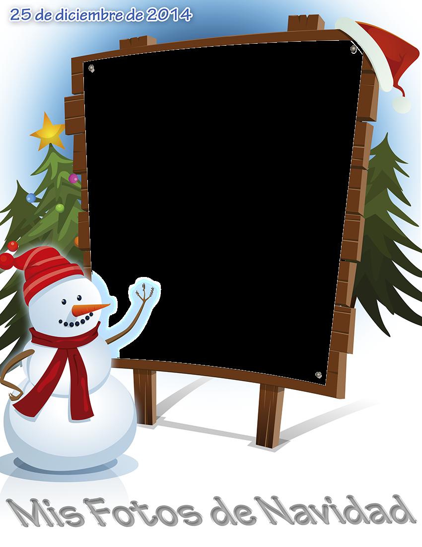 Muñeco de nieve con pinos y foto navideña