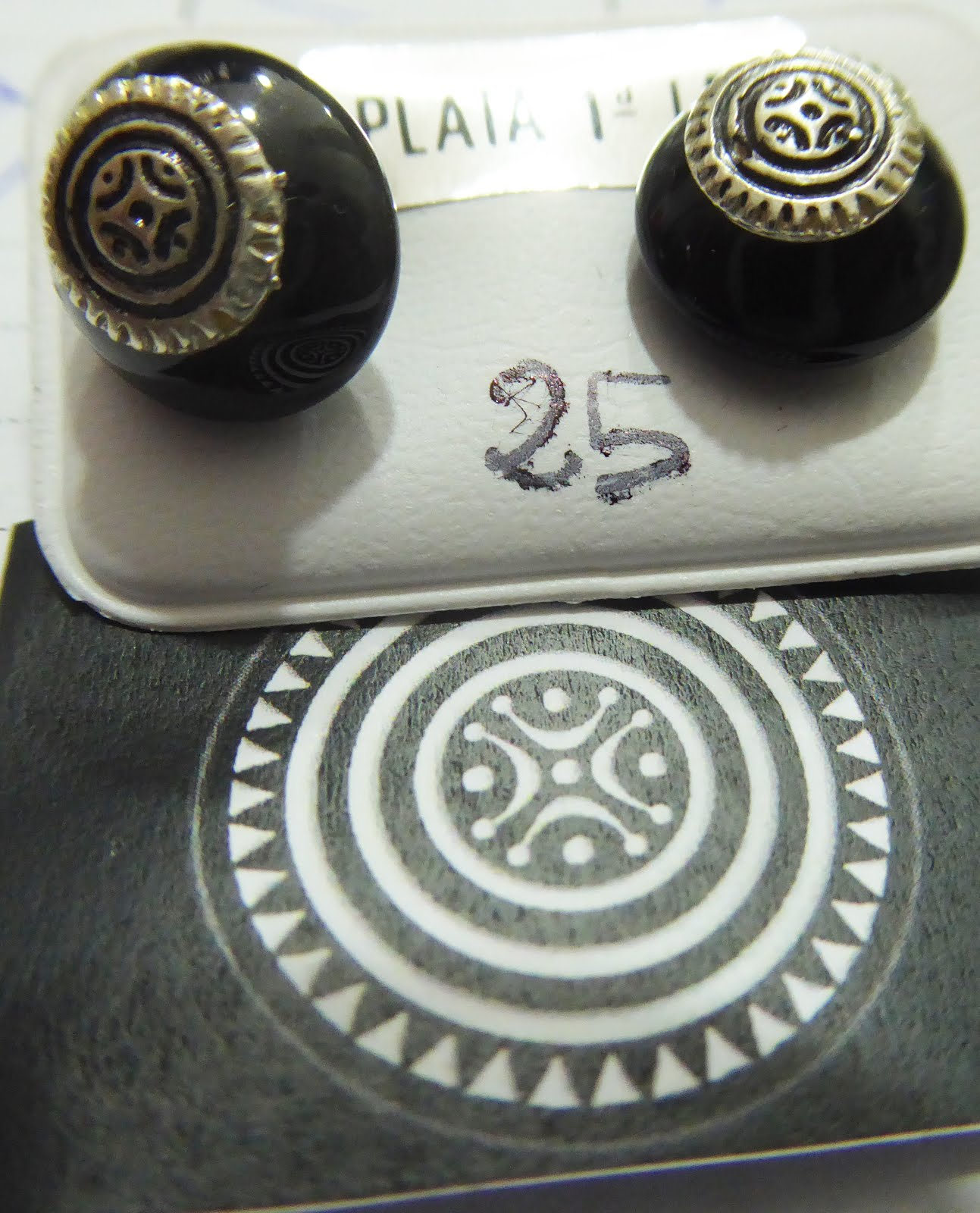 Pendientes de la estela cántabra con piedra onix, plata