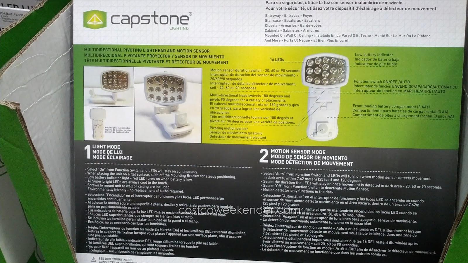 capstone led wireless motion sensor light 2 pack u2013 16 super bright leds easy