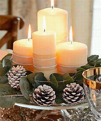 Decoraci n de navidad centros de mesa con - Pinas decoradas para centro de mesa ...