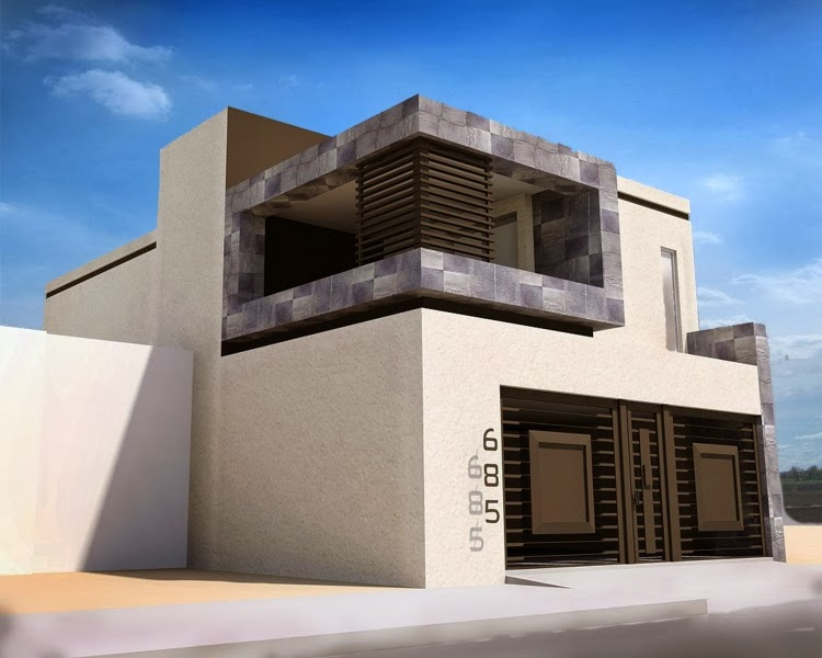 Fachadas de casas modernas fachada contempor nea con for Fachadas de casas contemporaneas modernas