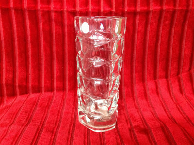 Glass Vase with indentation of squares and circles in rows
