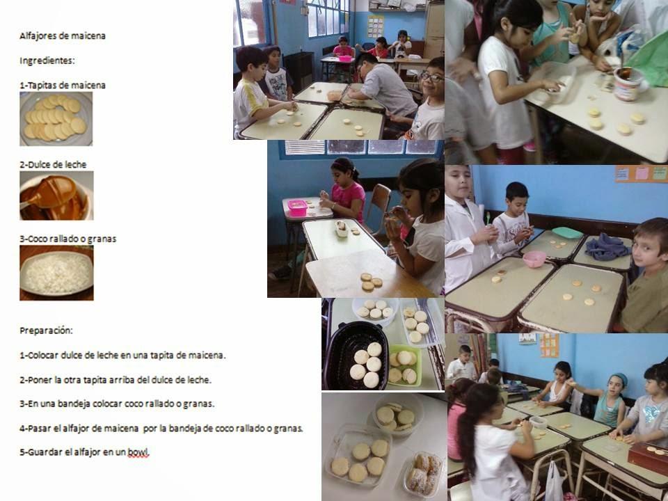 alumnos realizando los alfajores de maicena