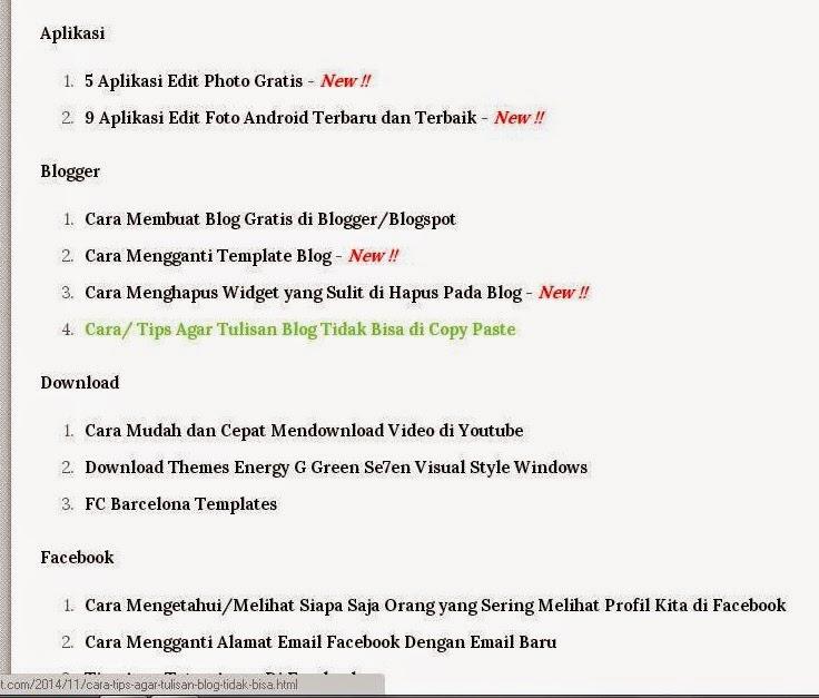 Cara Membuat Sitemap (Daftar Isi) di Blog