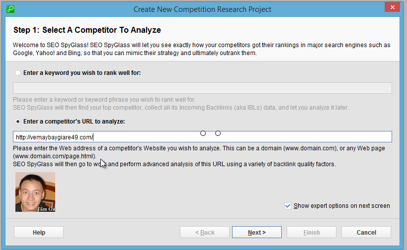 Seo-SpyGlass Step 1 : Select A Competitor to Analyze