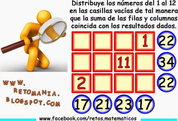 Piensa Rápido, Sólo para Genios, Los números que faltan, Desafíos matemáticos, Retos matemáticos, Problemas matemáticos, Problemas para pensar, Problemas con solución