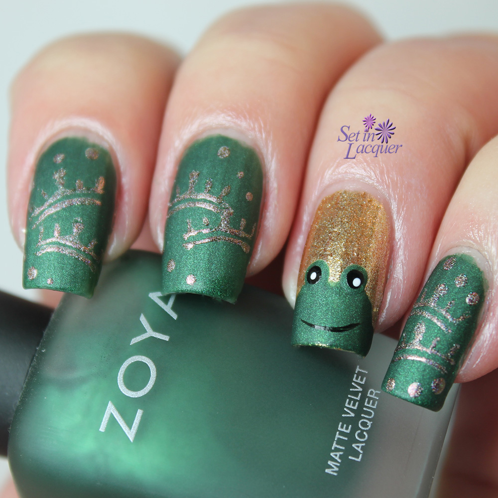 Fairy tale nail art - the frog prince