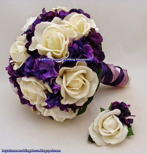 artificial purple wedding bouquets