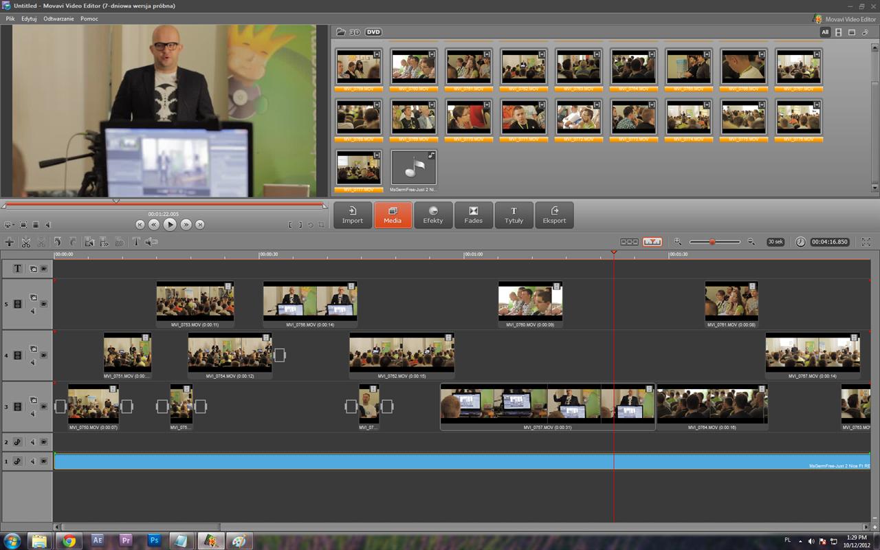 صورة من داخل برنامج تعديل الفيديو Movavi Video Editor