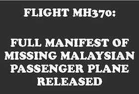 FULL MANIFEST RELEASED FOR MISSING PASSENGER PLANE: