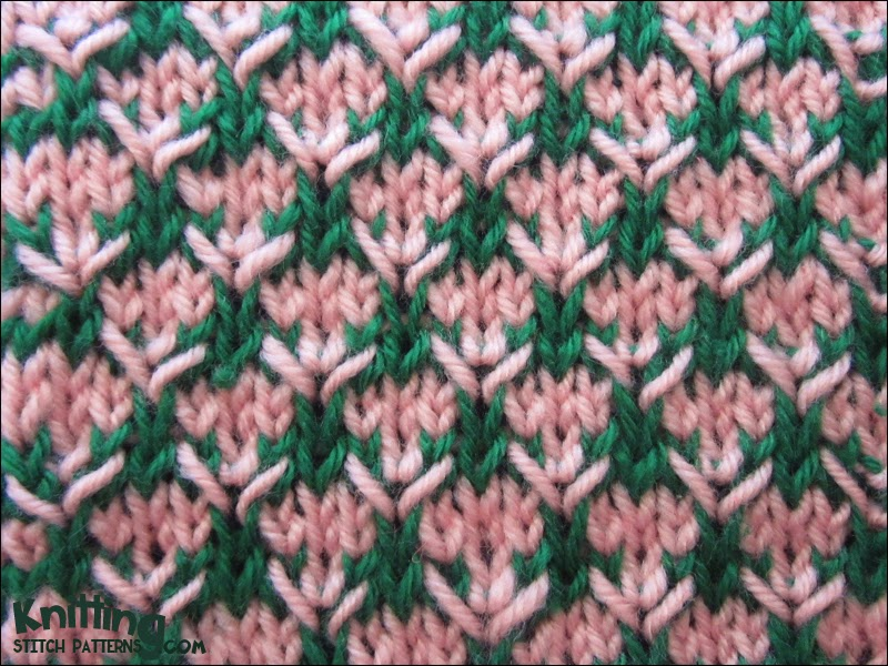 2 Color Knitting Patterns : Two-Color Thorn Stitch Knitting Stitch Patterns