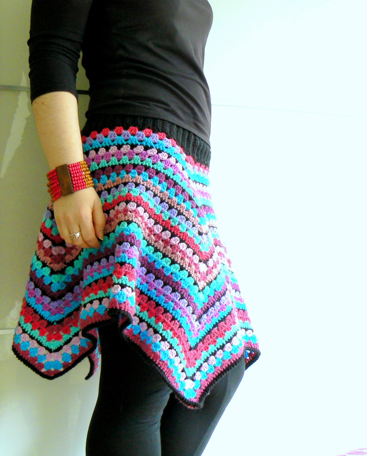 Прямая вязаная юбка крючком из квадратов, схема вязания 49