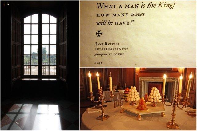 Ventanal, inscripción y mesa puesta en Hampton Court, Londres