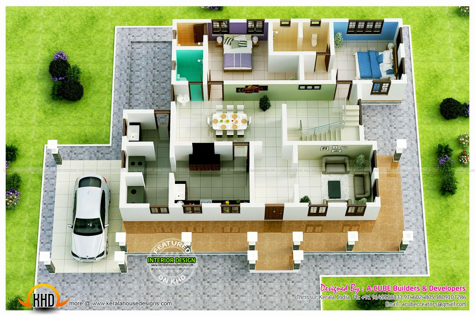 Luxury sloped roof house kerala home design and floor plans for 3d plans online