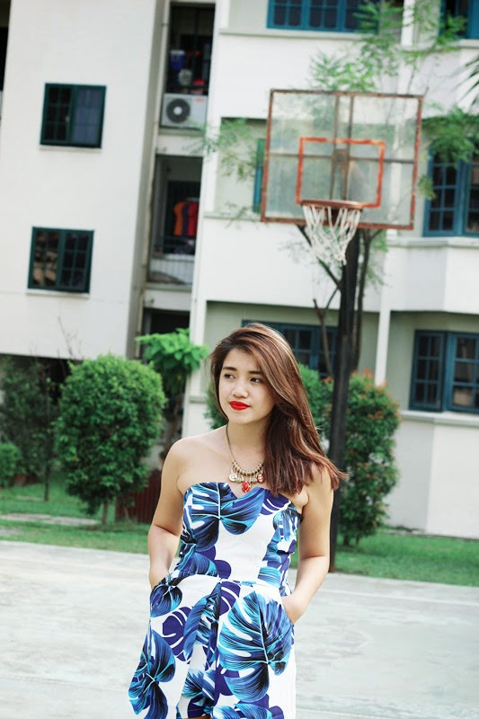 blue playsuit, one outfit in one day