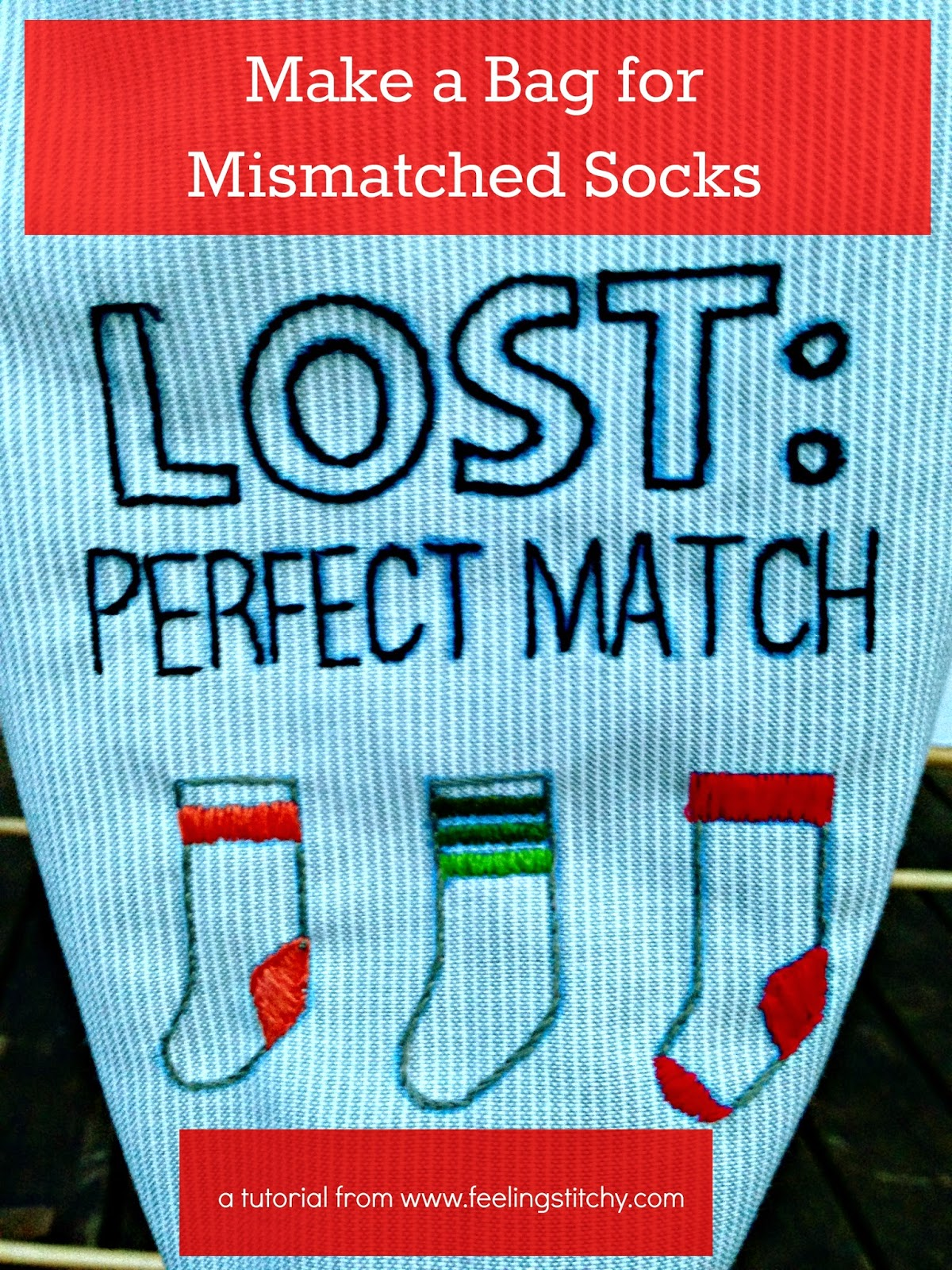 make a bag for mismatched socks | www.feelingstitchy.com