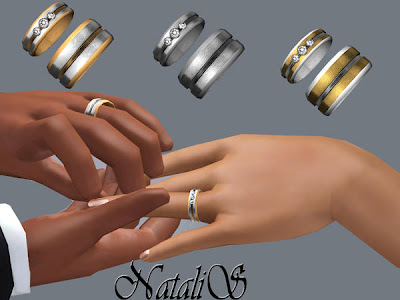 Custom Sims 3 Couple Carved Wedding Ring Set