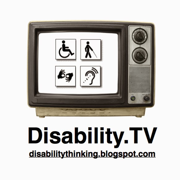 Logo of the podcast, photo of an old style tv set with disability symbols on the screen