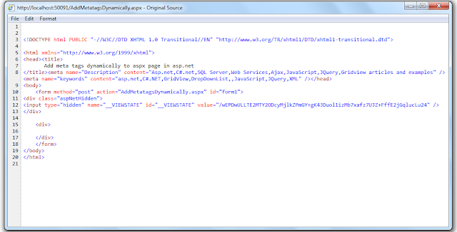 seo, dynamically, meta tag, content, web page, asp .net