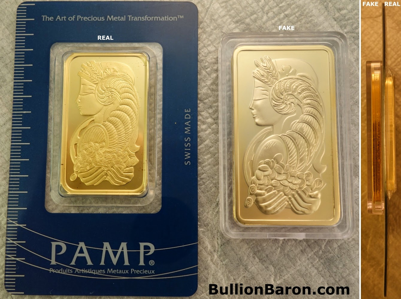 Replica Vs Real 1oz Gold Pamp Bar Comparison Bullion Baron