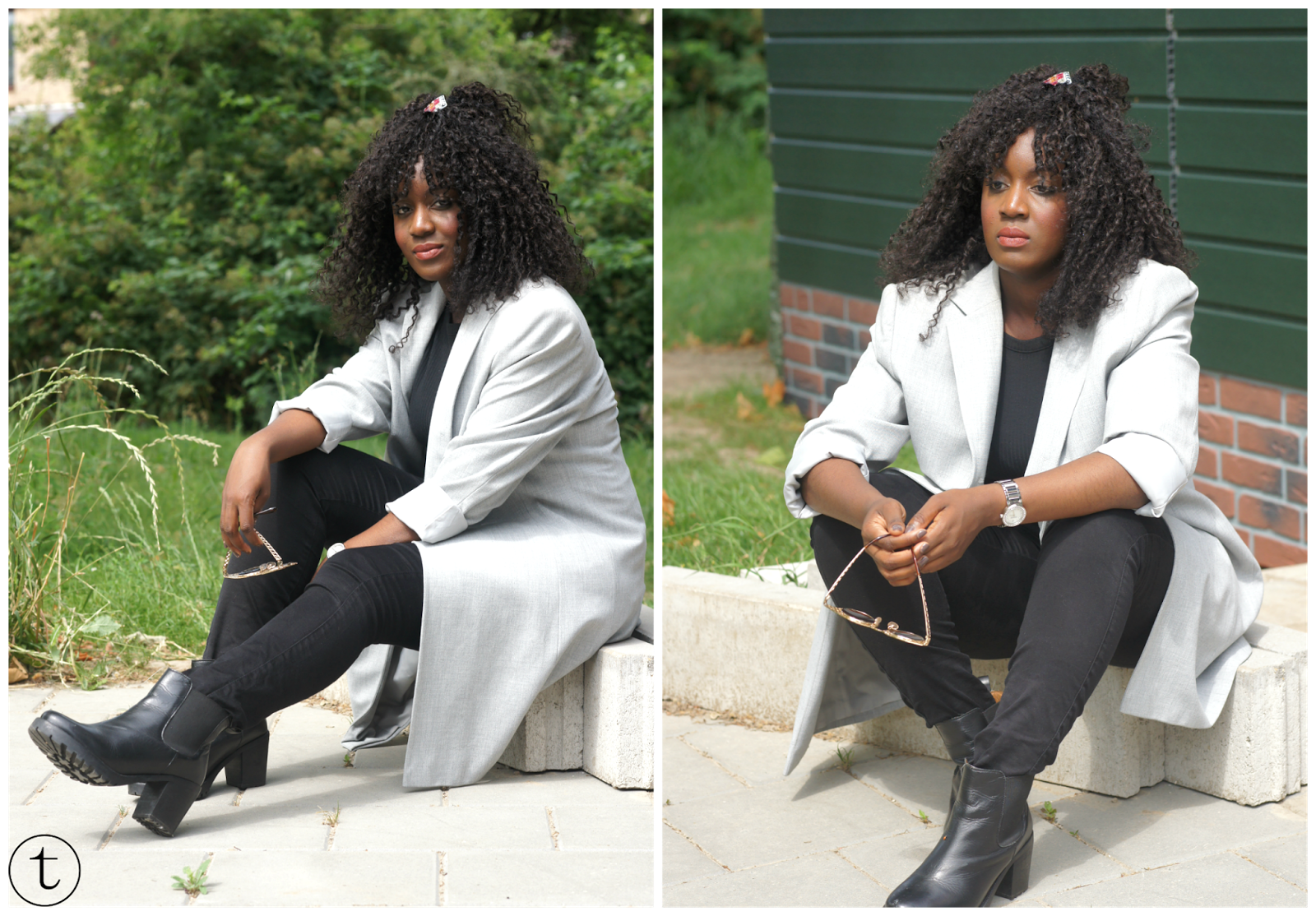 outfit post wearing a long grey jacket and a black crop top styled with black chelsea boots