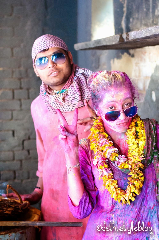Holi at Banke Bihari Temple flower vats