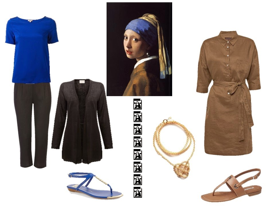 Two outfits taken from the colors and style of Girl with a Pearl Earring by Vermeer