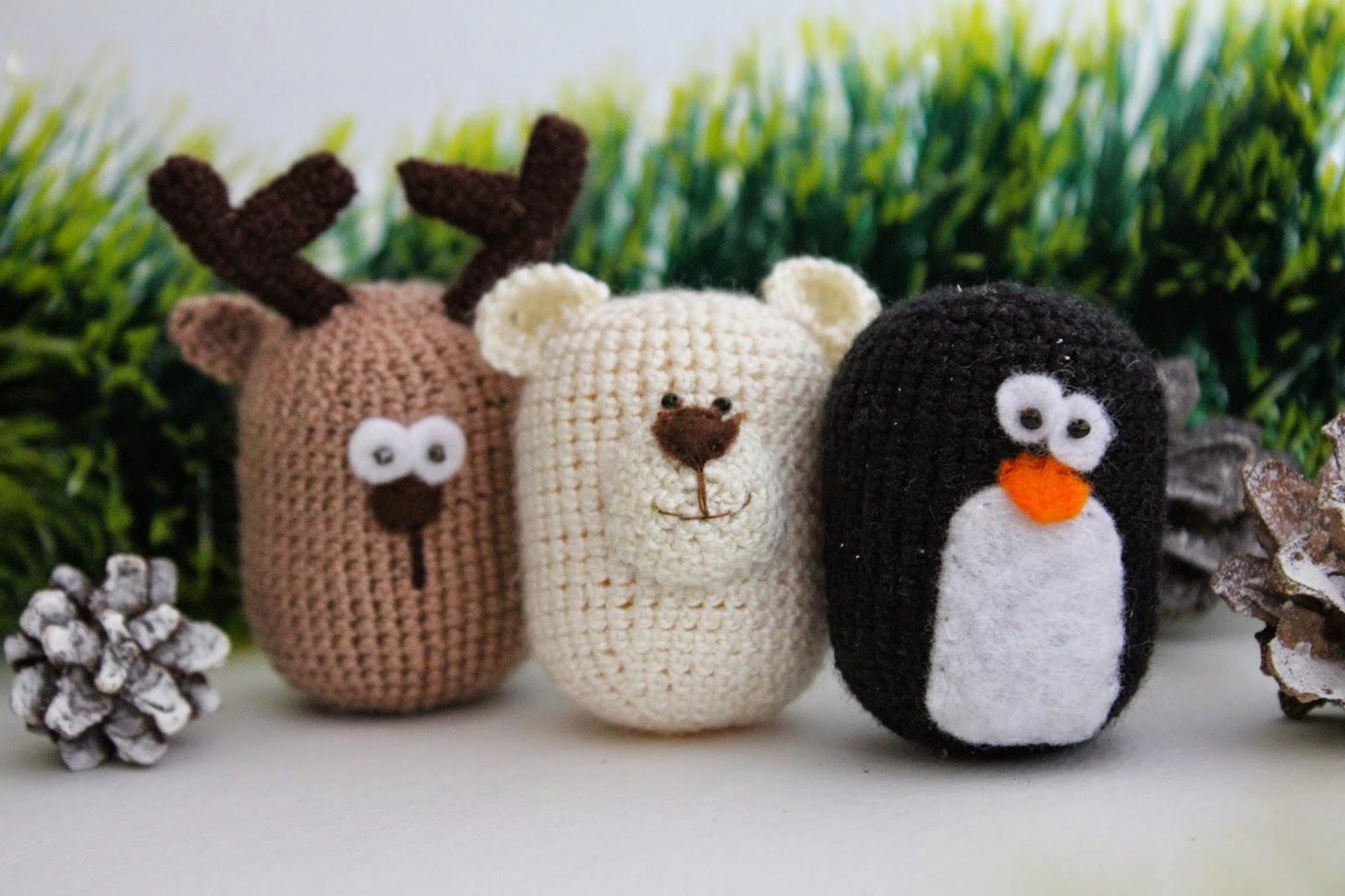 олень, пингвин, медведь, крючком