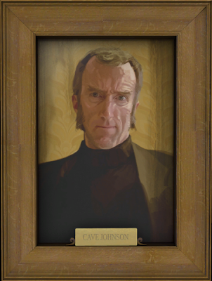 A painting of Cave Johnson taken from the game.