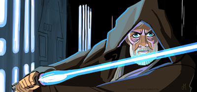 Obi-Wan Kenobi in Death Star corridor peering over drawn lightsaber