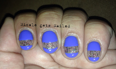 Blue with Glitter Cut Outs Nails