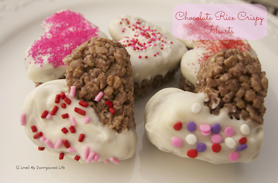 Chocolate Rice Crispy Hearts/ {I Love} My Disorganized Life #ricecrispys #hearts #chocolate