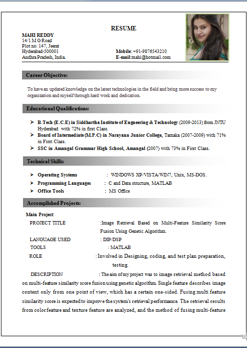 it resume format for experienced