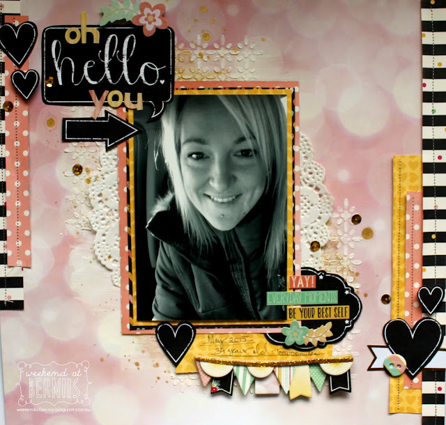 "'Oh Hello You"" layout by Bernii Miller using BoBunny You're Invited collection."