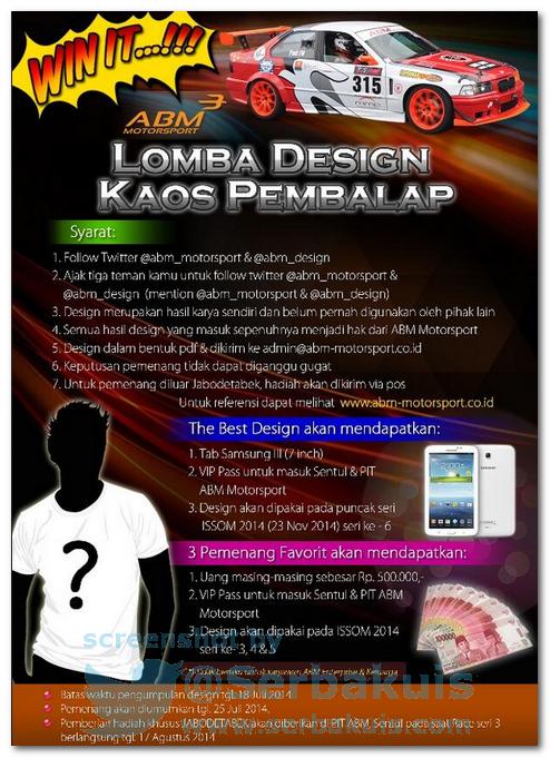 Kontes Desain Kaos Pembalap Berhadiah SAMSUNG Galaxy Tab 2