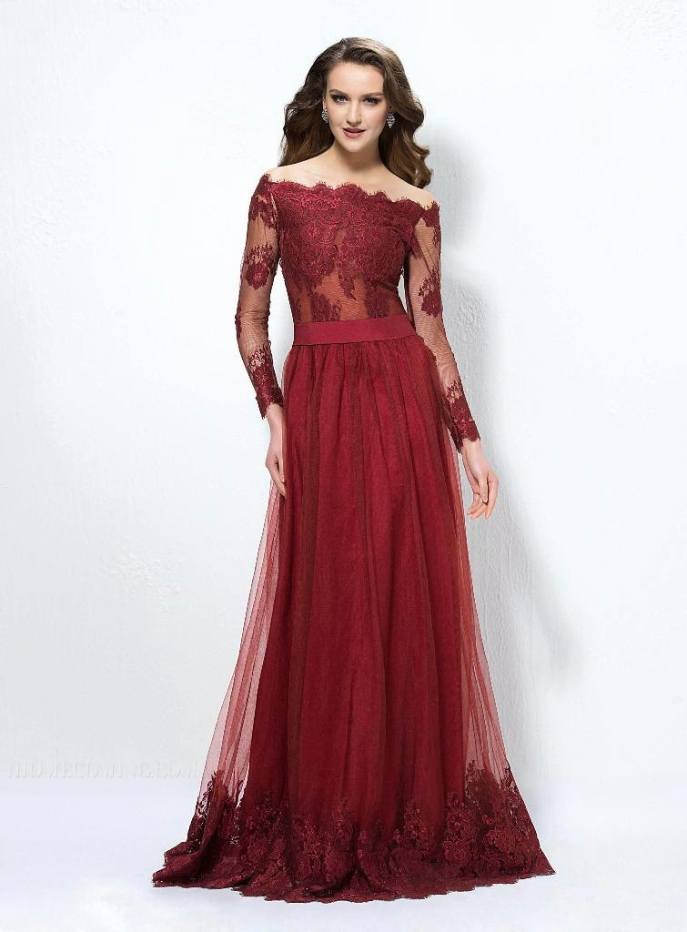 A-Line Off-The-Shoulder Long Sleeves Lace Button Evening Dress Designed Independently