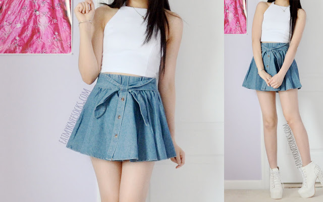 More photos of this cute ulzzang outfit, with Yumart's Tokyo Fashion denim bow skirt and a white sleeveless crop top.