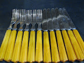 Set of 6 Forks 6 Knives Vintage 1930s Everbrite Stainless Cutlery Bakelite