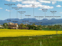 Panoràmica vers el nord-est, amb les masies que envolten les antigues escoles de Gurb i al fons les muntanyes del Cabrerès