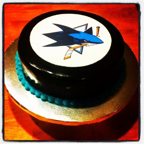 SAN JOSE SHARKS HOCKEY PUCK CAKE