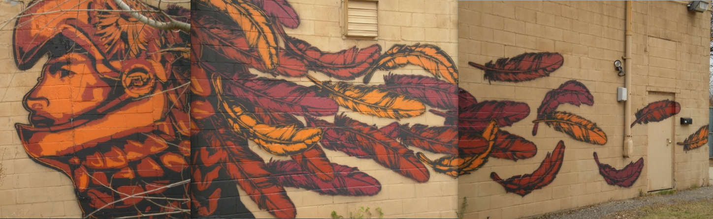 Phillips whittier 365 aztec warrior mural for Aztec mural painting