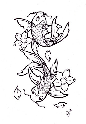 Koi Fish Tattoo Designs Sketch Collection 6