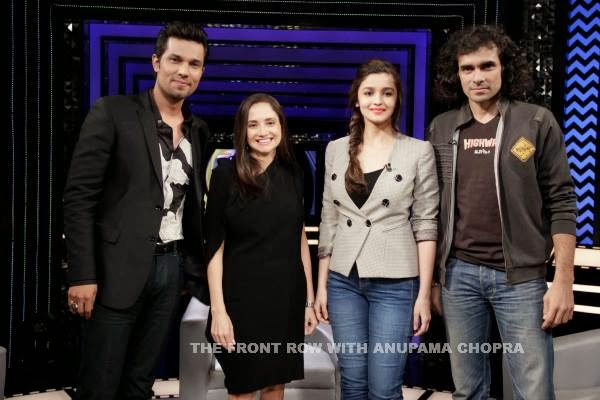 Randeep Hooda, Alia Bhatt and Imtiaz Ali with Anupama Chopra on The Front Row