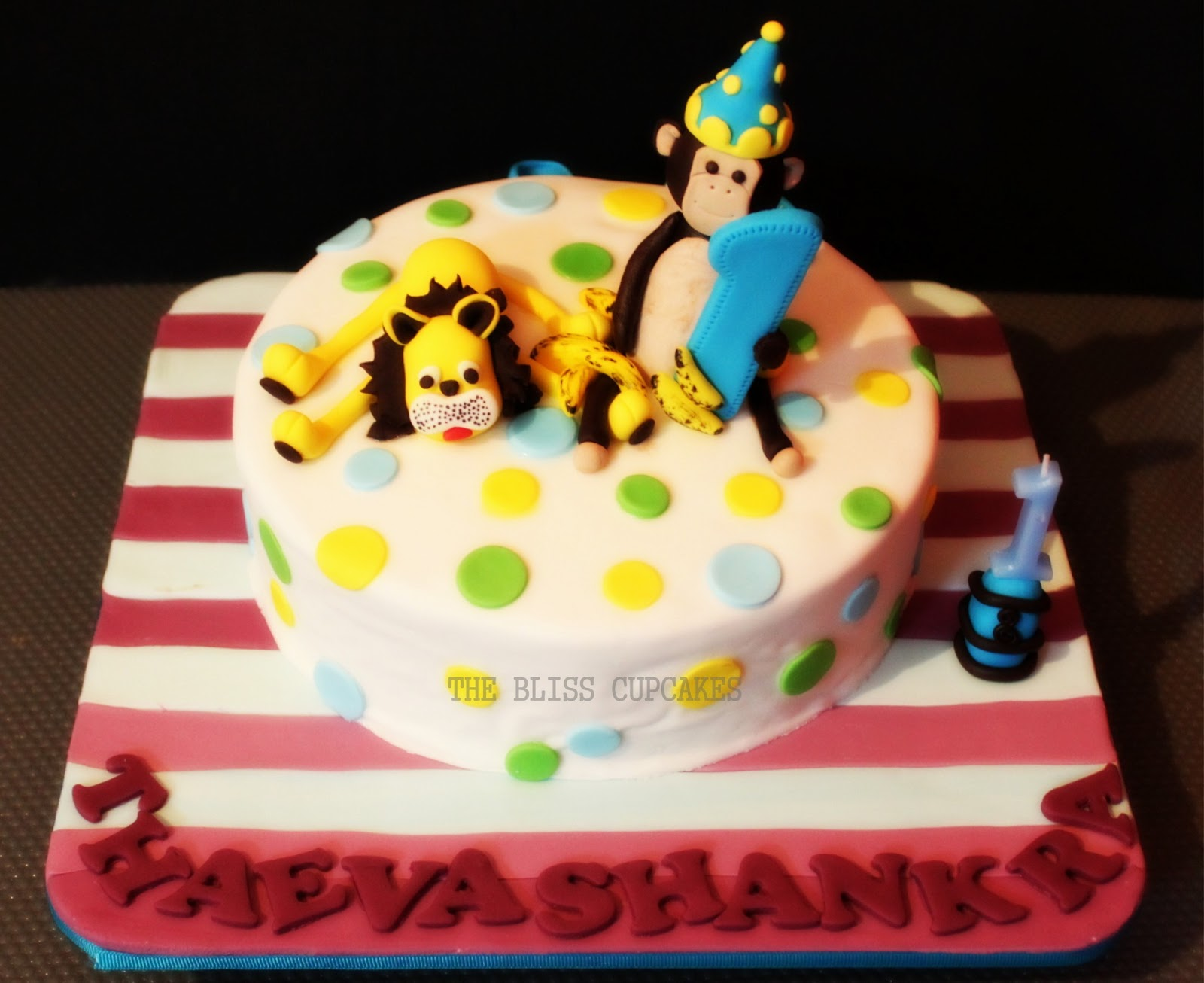 The Bliss Cupcakes Monkey And Lion 1st Birthday Cake