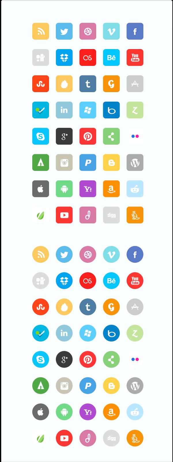 80 Flat Social Media Icon Set