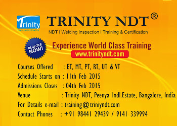 NDT Level II Training from 11 Feb 2015 at Bangalore, India - world class training Click on Image