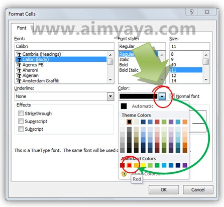 Gambar: Cara membuat teks menjadi warna merah di Microsoft Excel