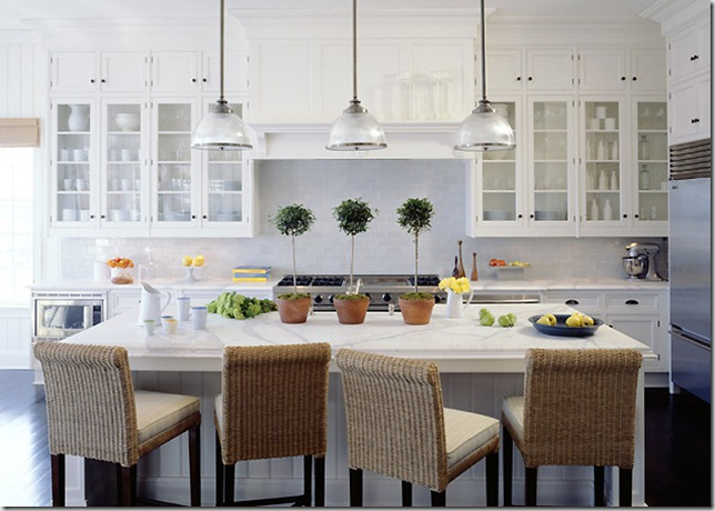 Whats inside those glass front kitchen cabinets frog hill i love the look of a crisp all white kitchen the white dishware continues the all white scheme and adds interest while the glass front cabinets add space planetlyrics